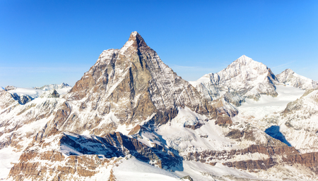 Panorama of Breuil Cervinia mountains in Alps. Matterhorn peak