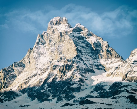 Panorama of Breuil Cervinia mountains in Alps.