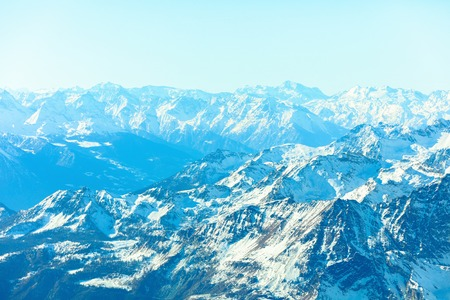 Abstract Panorama of Breuil Cervinia mountains in Alps. Creative instagram toning effect Stock Photo
