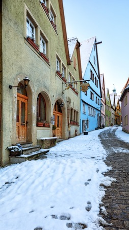 Amazing winter in old town of Rothenburg ob der Tauber, Middle Franconia, Bavaria, Germany Stock Photo
