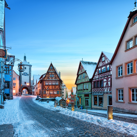 Amazing winter in old town of Rothenburg ob der Tauber, Middle Franconia, Bavaria, Germany Banco de Imagens
