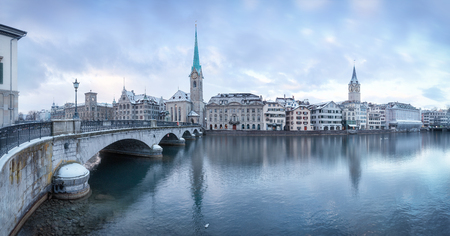 Winter landscape of Zurich with lake, Switzerland Stock Photo