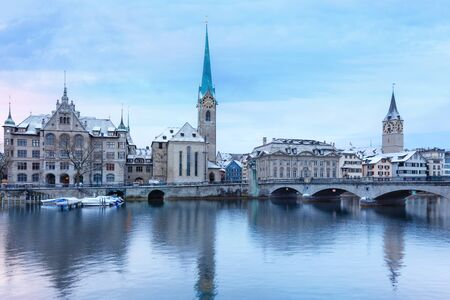 Winter landscape of Zurich with lake, Switzerland Stock Photo