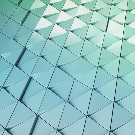 ventilated: Abstract 3d illustration of modern aluminum ventilated facade of triangles Stock Photo