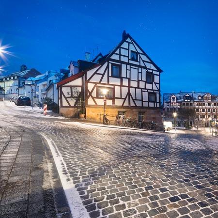 Winter night landscape of Nuremberg, Bavaria, Germany Stock Photo