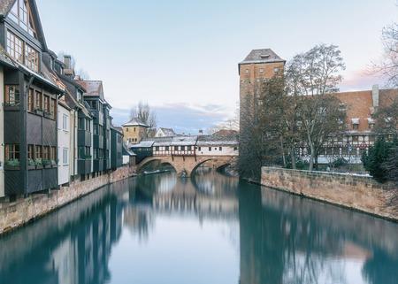 Winter landscape of Henker haus. Pegnitz river in Nuremberg, Bavaria, Germany