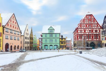 Amazing winter on Market square of Rothenburg ob der Tauber, Middle Franconia, Bavaria, Germany