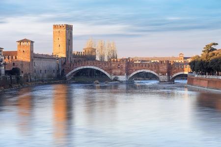 historical quarter of Verona, view from river on Castel Vecchio bridge, Italy Stock Photo