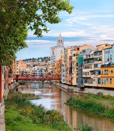 historical jewish quarter in Girona with Eiffel Bridge at sunrise, Barcelona, Spain, Catalonia