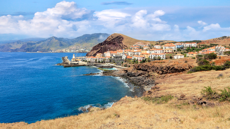 Cliff view panorama of Quinta do Lorde village near Canical in Madeira island, Portugal Stock Photo