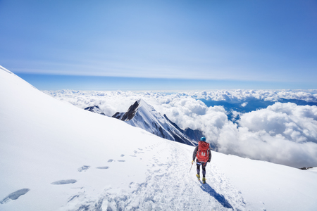 Trekking to the top of Mont Blanc mountain in French Alps Reklamní fotografie