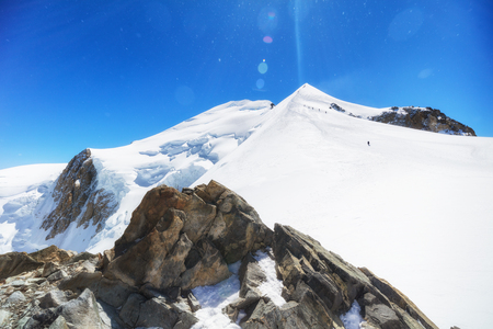 Trekking to the top of Mont Blanc mountain in French Alps Stok Fotoğraf