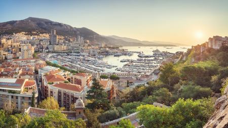Monaco from above at sunrise on sunny summer day