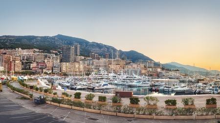 Evening on Monaco promenade with no people Stock Photo