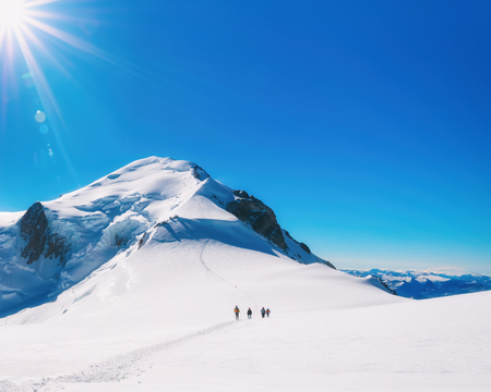 Trekking to the top of Mont Blanc mountain in French Alps Stock Photo