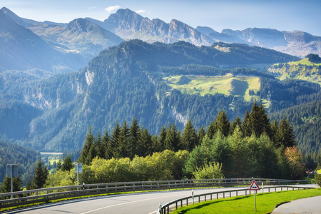 Traveling to beautiful high Alps in summer Stock Photo