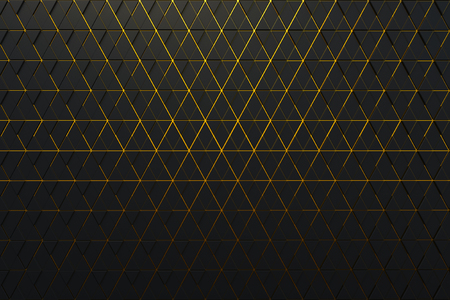 Abstract background of polygonal shape with golden lines