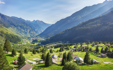 Traveling to beautiful Swiss Alps in summer Stock Photo