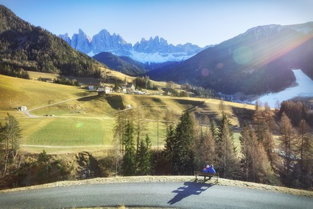 Traveling to beautiful Alps in autumn on sunny day Stock Photo
