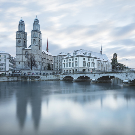 Old Zurich town in winter , view on river