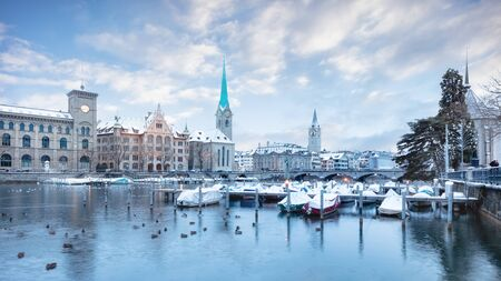 Old Zurich town in winter, view on lake