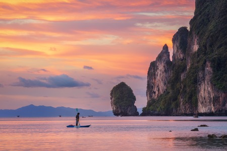 Asian tropical beach sunset in Thailand