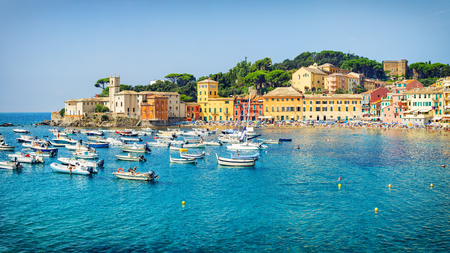 Public beach of Italian Sestri Levante in summer Reklamní fotografie