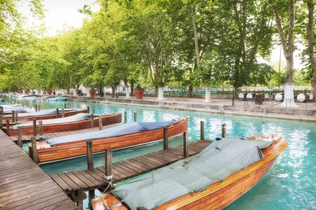 Old town of Annecy. French Venice with wooden boats