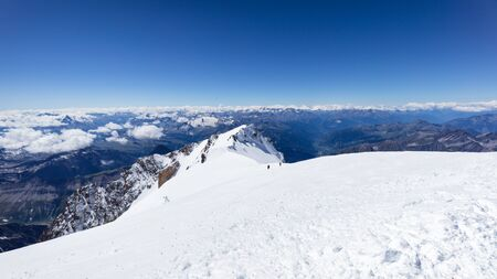 Trekking to the top of Mont Blanc mountain in French Alps Banco de Imagens