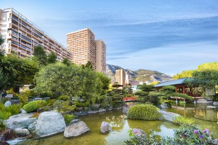 Japanese garden of Monaco in summer