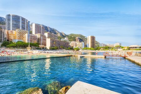 Public beach of Monaco in summer Banco de Imagens