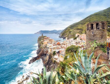 Panorama of Vernazza in summer with Doria Castle