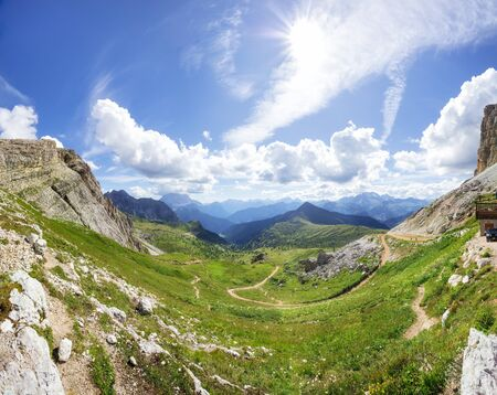 Traveling to beautiful Alps in summer. Cinque Torri Banco de Imagens