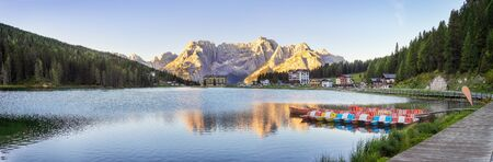 Traveling to beautiful Alps in summer. Lago di Misurina