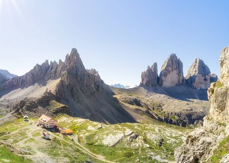 Tre Cime di Lavaredo Locatelli refuge or Three Peaks of Lavaredo or Drei Zinnen national park summer landscape.