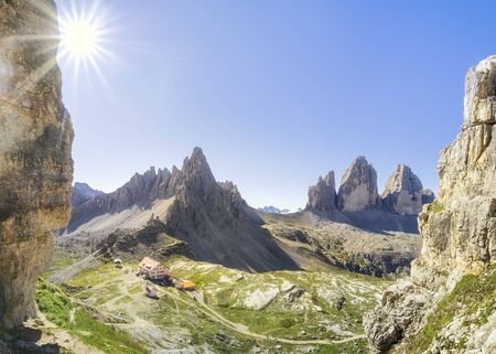 Tre Cime di Lavaredo or Three Peaks of Lavaredo or Drei Zinnen national park summer landscape.
