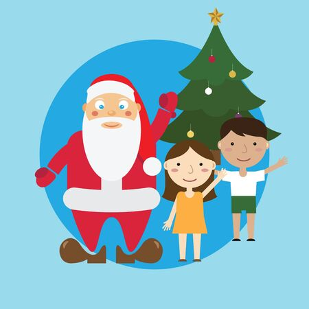 Santa and children and tree. Vector.