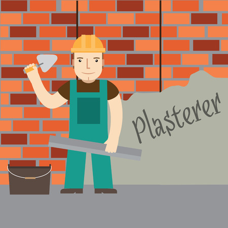 plasterer: Plasterer at work. Vector. Illustration
