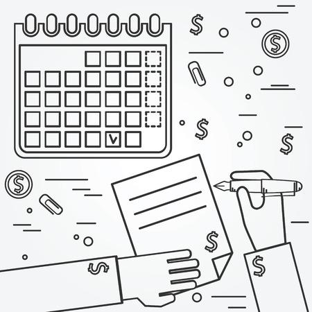 planificacion: Plan de negocios. icono de la línea Brainstorm.Think.