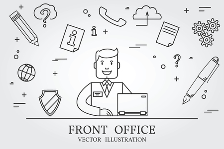 front office: Front office. Think line icon. Vector. Illustration