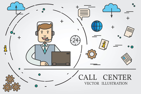 call center office: Call center thin line design. Vector.