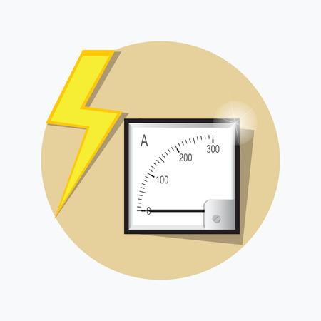 metrology: Ampermeter flat icon. Illustration