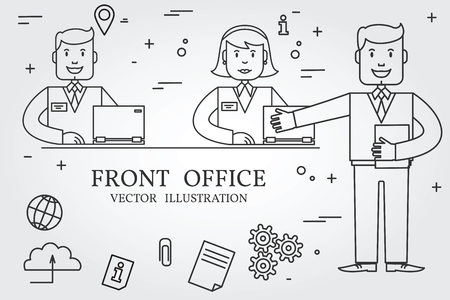 front office: Front office. Think line icon.
