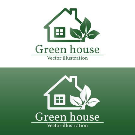 rural development: Green house logo. Eco house. Green house Vector. Green house art. Green house Graphic.  Illustration