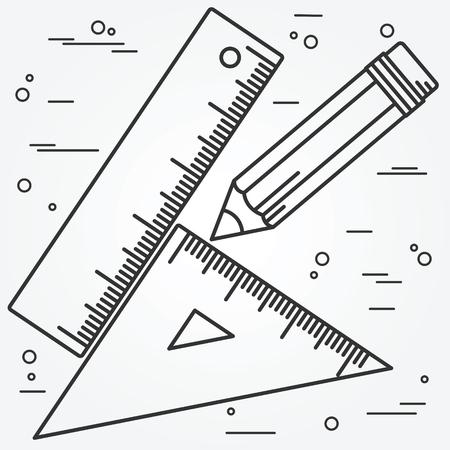 Righello, l'angolo e la linea sottile pencill design.Ruler, l'angolo e la matita icona del disegno. Vettoriali