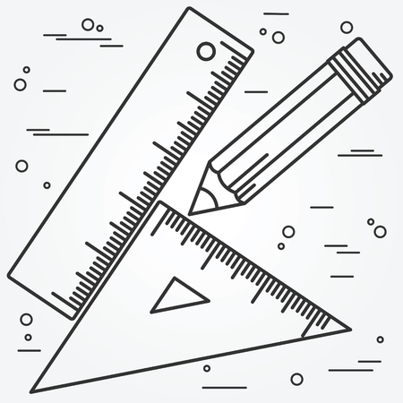 ruler: Ruler, angle and pencill thin line design.Ruler, angle and pencil Icon Drawing.
