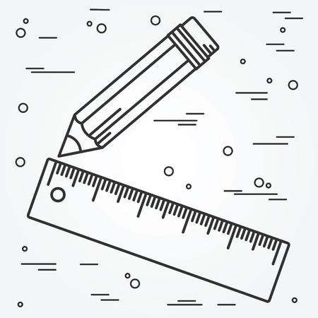 pencil: Regla y dise�o de l�nea delgada l�piz. Icono regla y l�piz l�piz. Regla y un l�piz del vector del icono.