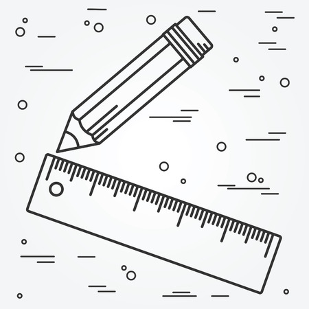 pencil: Ruler and pencil thin line design. Ruler and pencil pen Icon. Ruler and pencil Icon Vector.
