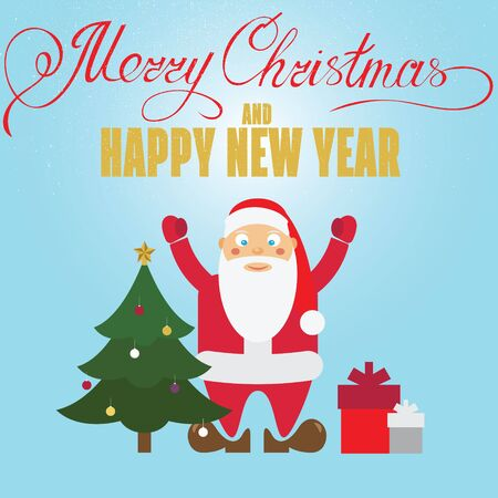 christmass: Christmas poster design with Santa Claus, christmass tree and  Christmas presents. Christmas greeting card.  Illustration
