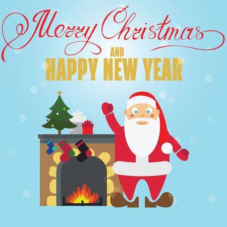 christmass: Christmas poster design with Santa Claus, fireplace, christmass tree and christmas presents. Christmas greeting card.
